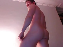 Handsome Boy With Big Cock Cums On His Hard Abs, Bubble Ass