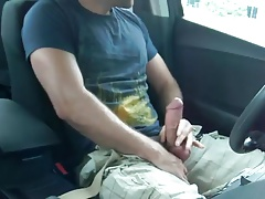 Stroking in my car with a big cumshot