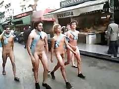 Frat boys walking public street naked